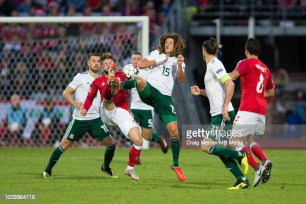 Ethan Ampadu of Wales in action during the UEFA Nations League B group four match between Denmark and Wales at on September 9 2018 in Aarhus Denmark
