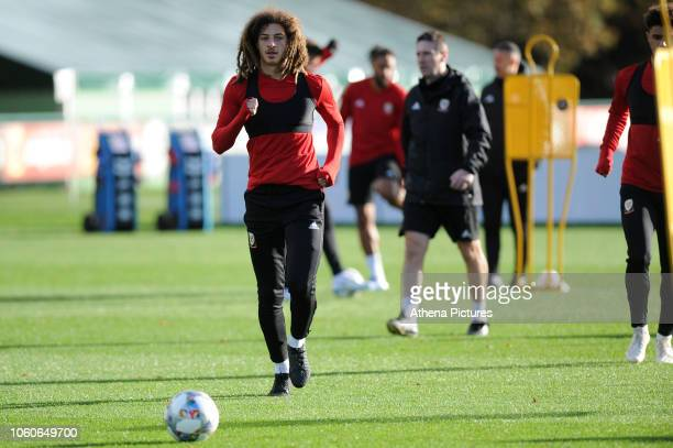 Ethan Ampadu of Wales in action during the Wales Training Session at The Vale Resort on November 12 2018 in Cardiff Wales