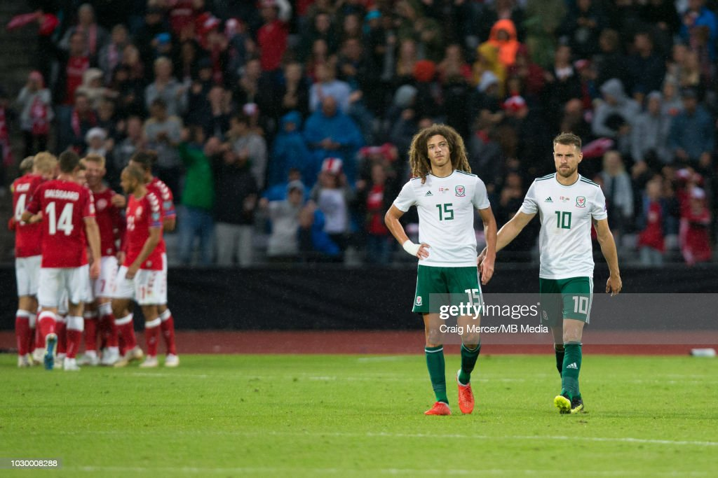 Ethan Ampadu of Wales looks dejected after his side concede their second goal after a penalty awarded against him for hand ball during the UEFA Nat Ceres Parkions League B group four mat Ceres Parkch between Denmark and Wales at Ceres Park on September 9, 2018 in Aarhus, Denmark.