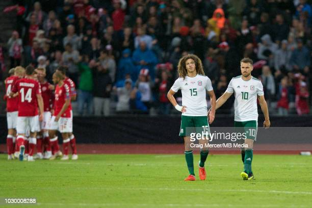 Ethan Ampadu of Wales looks dejected after his side concede their second goal after a penalty awarded against him for hand ball during the UEFA Nat...