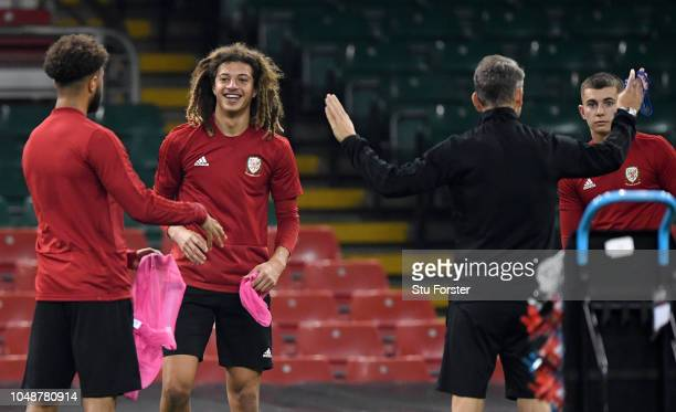 Ethan Ampadu of Wales looks on during a Wales Training Session at Principality Stadium on October 10 2018 in Cardiff Wales