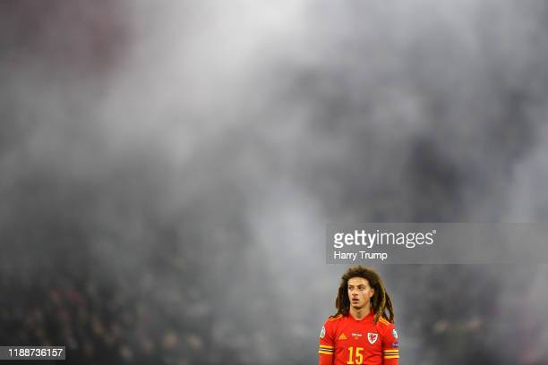 Ethan Ampadu of Wales looks on during the UEFA Euro 2020 qualifier between Wales and Hungary so at Cardiff City Stadium on November 19 2019 in...