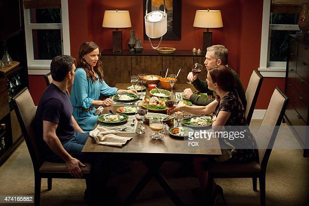 """Ethan and Beverly have dinner with Kate and Harold in the """"Don't Discuss Your Life Before"""" episode of WAYWARD PINES airing Thursday, May 21, 2015 on..."""