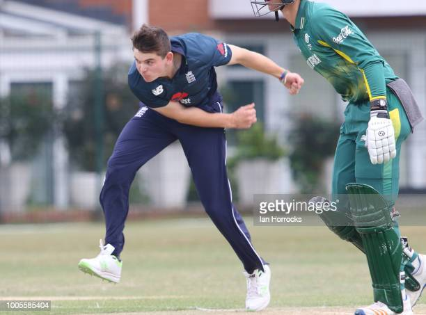 Ethan Bamber of England U19 bowls during the second ODI between England U19 and South Africa U19 at South Northumberland CC on July 26 2018 in...