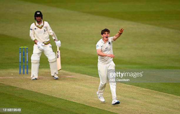 Ethan Bamber of Middlesex appeals unsuccessfully for the wicket of Tom Smith of Gloucestershire during Day Two of the LV= Insurance County...