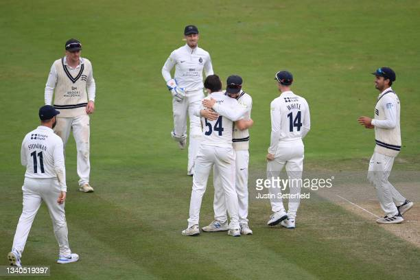 Ethan Bamber of Middlesex celebrates taking the final wicket of Dillon Pennington of Worcestershire during the LV= Insurance County Championship...