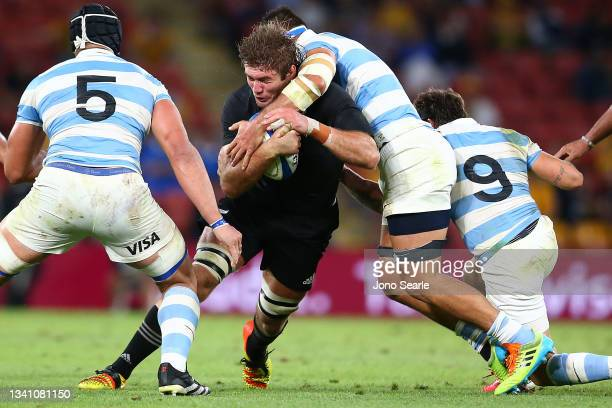 Ethan Blackadder of New Zealand is tackled during The Rugby Championship match between the Argentina Pumas and the New Zealand All Blacks at Suncorp...