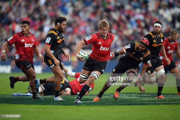 Ethan Blackadder of the Crusaders charges forward during the round four Super Rugby match between the Crusaders and Chiefs at Christchurch Stadium on...