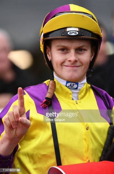 Ethan Brown after riding Maddison Avenue to win Race 5 during Melbourne Racing at Sandown Hillside on April 10 2019 in Melbourne Australia