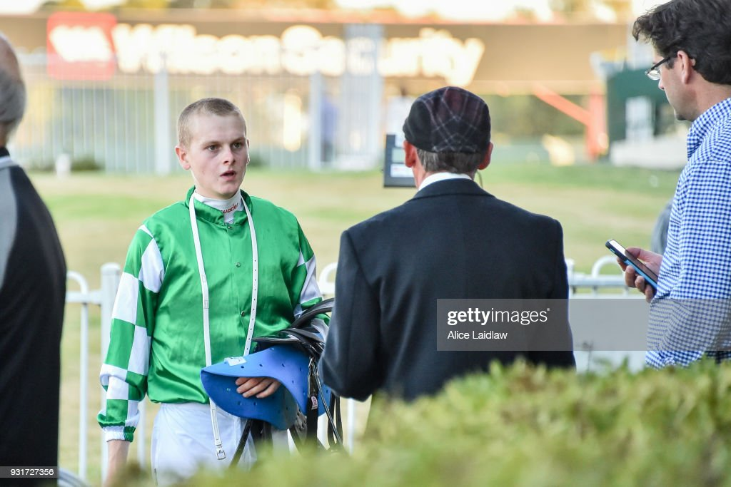 Ethan Brown after winning the Ladbrokes Handicap at Ladbrokes Park Hillside Racecourse on March 14, 2018 in Springvale, Australia.