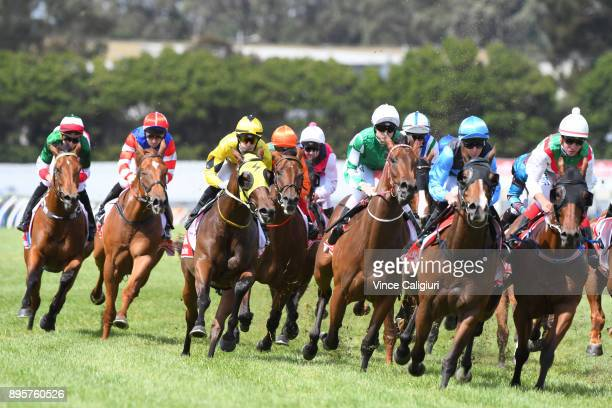 Ethan Brown riding Holy Seal before winning Race 4 during Melbourne Racing at Sandown Hillside on December 20 2017 in Melbourne Australia Fred...