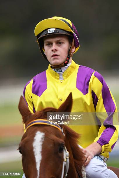 Ethan Brown riding Maddison Avenue after winning Race 5 during Melbourne Racing at Sandown Hillside on April 10 2019 in Melbourne Australia