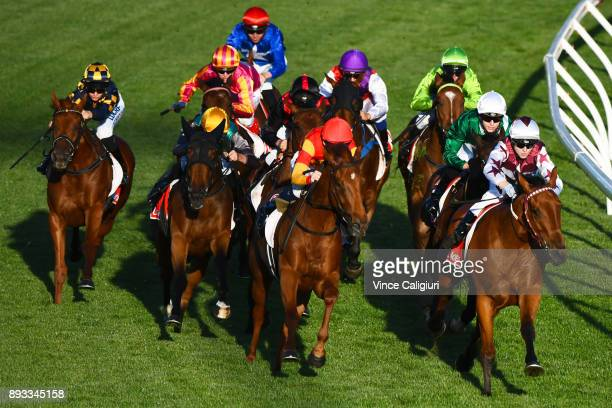 Ethan Brown riding Twitchy Frank leads into the home turn before winning Race 3 during Melbourne Racing at Moonee Valley Racecourse on December 15...