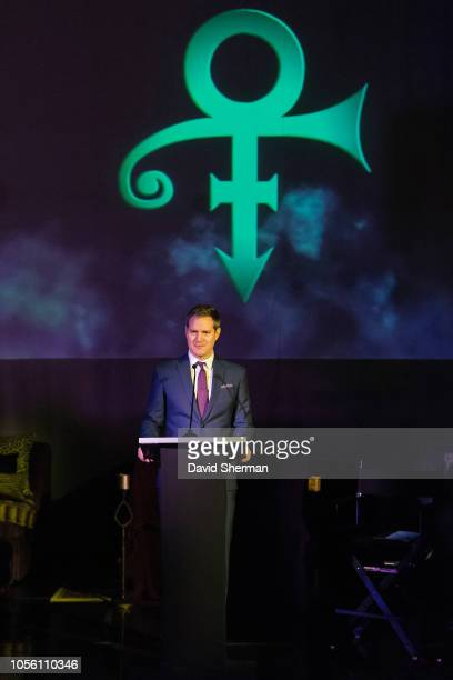 Ethan Casson Chief Executive Officer and Ted Johnson Chief Strategy Officer of the Minnesota Timberwolves along with Prince family members Omar Baker...
