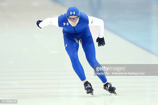 Ethan Cepuran of USA competes in the Men 1500m on day one of the ISU Junior Speed Skating Championships 2016 at the Jilin Speed Skating OVAL on March...