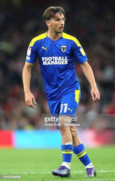 Ethan Chislett of AFC Wimbledon during the Carabao Cup Third Round match between Arsenal and AFC Wimbledon at Emirates Stadium on September 22, 2021...