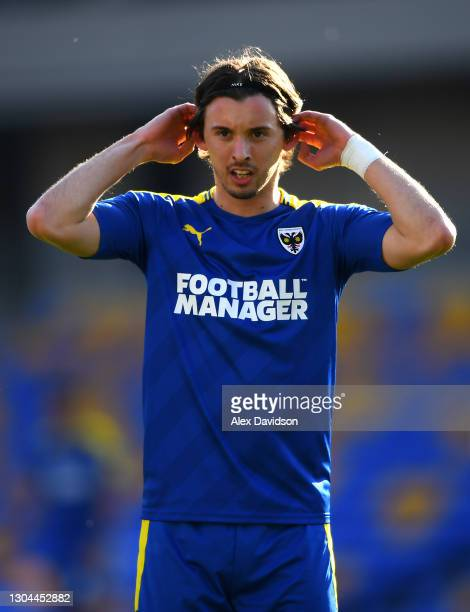 Ethan Chislett of AFC Wimbledon looks on during the Sky Bet League One match between AFC Wimbledon and Hull City at Plough Lane on February 27, 2021...