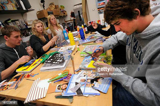 Ethan Choun right and classmates from left to right Alec Comito Jen Pakieser 17 and Brooke Werner work on a dream landscape project in their...