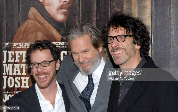 Ethan Coen Jeff Bridges and Joel Coen attend the premiere of True Grit at the Ziegfeld Theatre on December 14 2010 in New York City