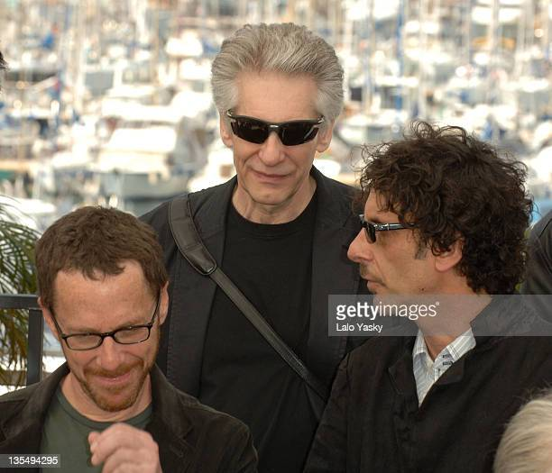 Ethan Coen Joel Coen and David Cronenberg during 2007 Cannes Film Festival Chacun Son Cinema All Directors Photocall at Palais des Festivals in...