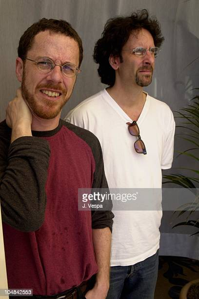 Ethan Coen Joel Coen during Cannes 2001 The Man Who Wasn't There Portrait Shoot at Carlton La Cote in Cannes France