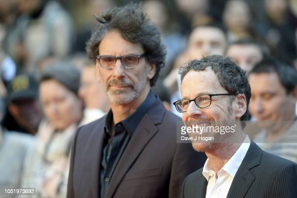 "Ethan Cohen and Joel Cohen attend the UK Premiere of ""The Ballad of Buster Scruggs"" & the American Airlines Gala during the 62nd BFI London Film..."