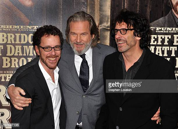 Ethan Cohen Jeff Bridges and Joel Cohen attend the premiere of True Grit at the Ziegfeld Theatre on December 14 2010 in New York City