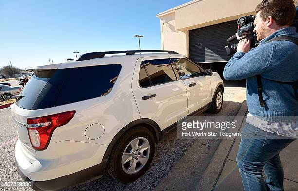 Ethan Couch in this white SUV returns to North Texas to the Scott D Moore Juvenile Justice Center on Jan 28 2016 in Fort Worth Texas