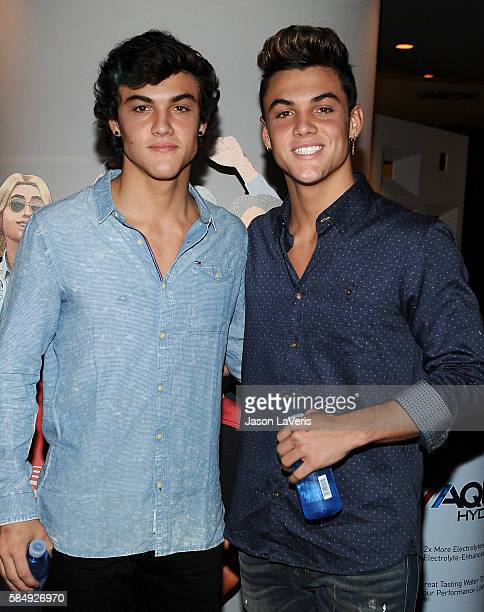 Ethan Dolan and Grayson Dolan pose in the green room at the 2016 Teen Choice Awards at The Forum on July 31 2016 in Inglewood California