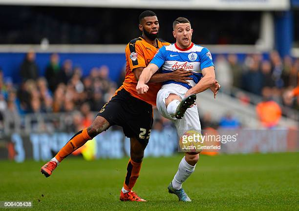 Ethan EbanksLandell of Wolverhampton Wanderers and Conor Washington of Queens Park Rangers during the Sky Bet Championship match between Queens Park...