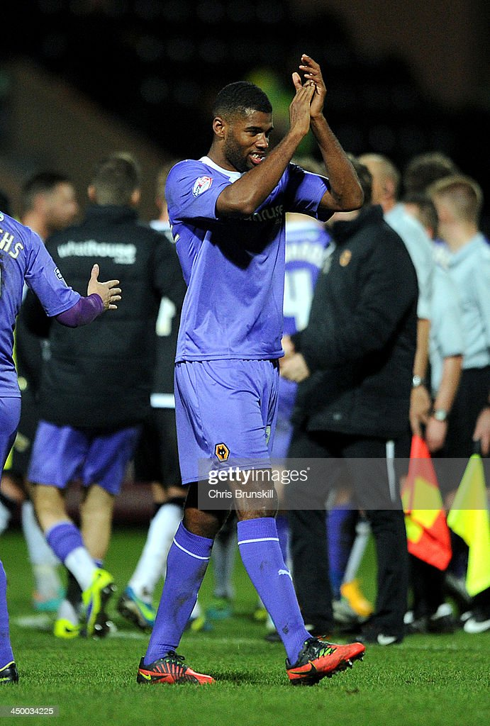 Ethan Ebanks-Landell of Wolverhampton Wanderers applauds the supporters following the Sky Bet League One match between Notts County and Wolverhampton Wanderers at Meadow Lane on November 16, 2013 in Nottingham, England.