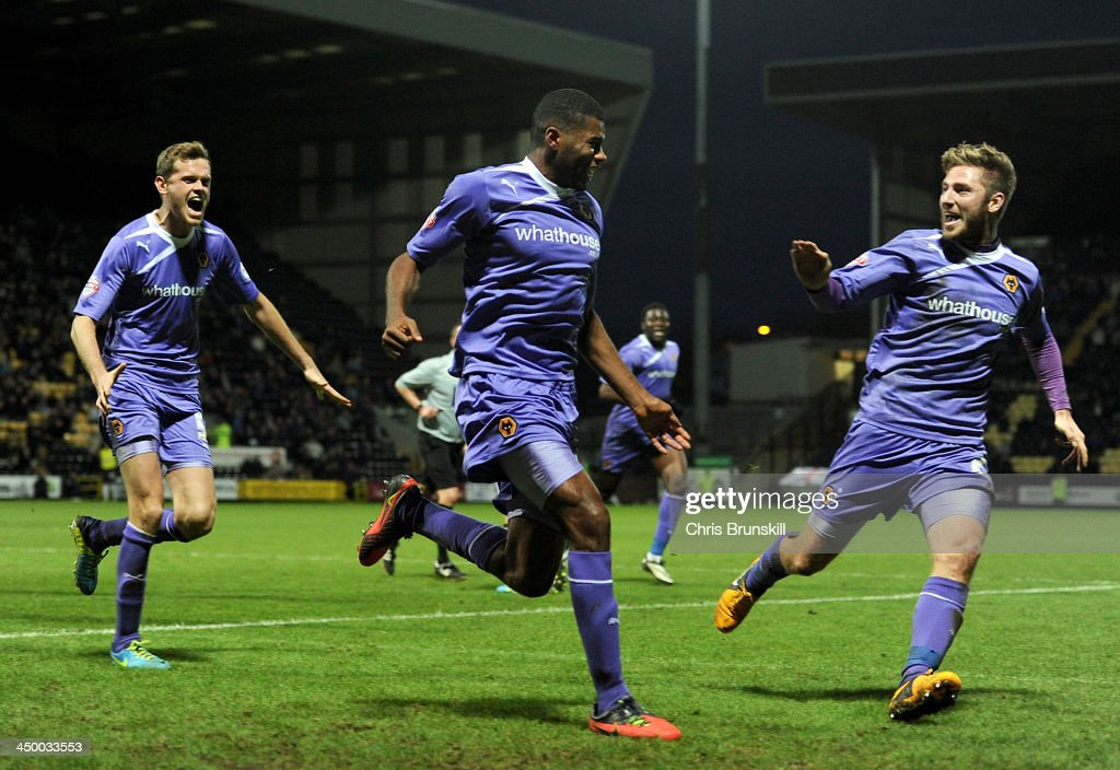 Ethan Ebanks-Landell (C) of Wolverhampton Wanderers celebrates scoring the opening goal during the Sky Bet League One match between Notts County and Wolverhampton Wanderers at Meadow Lane on November 16, 2013 in Nottingham, England.