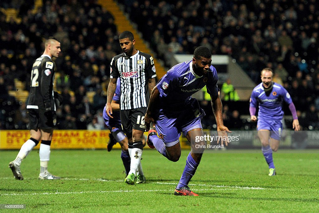 Ethan Ebanks-Landell of Wolverhampton Wanderers celebrates scoring the opening goal during the Sky Bet League One match between Notts County and Wolverhampton Wanderers at Meadow Lane on November 16, 2013 in Nottingham, England.