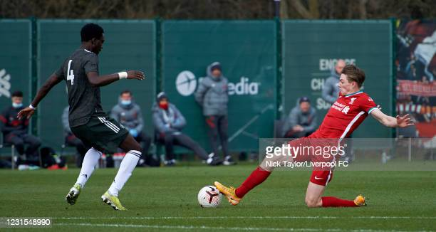 Ethan Ennis of Liverpool and Bjorn Hardley of Manchester United in action during the U18 Premier League game between Liverpool and Manchester United...