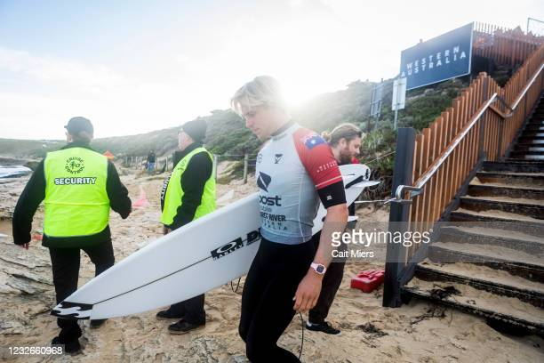 Ethan Ewing of Australia surfing in Heat 12 of Round 1 of the Boost Mobile Margaret River Pro presented by Corona on May 3, 2021 in Margaret River,...