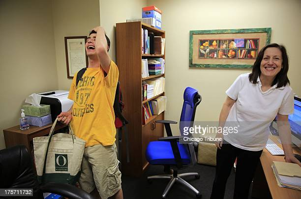 Ethan Fishman left, of Highland Park, jokes Wednesday, June 12, 2013 as he arrives for a session with his tutor, Learning Specialist Linda Simard,...