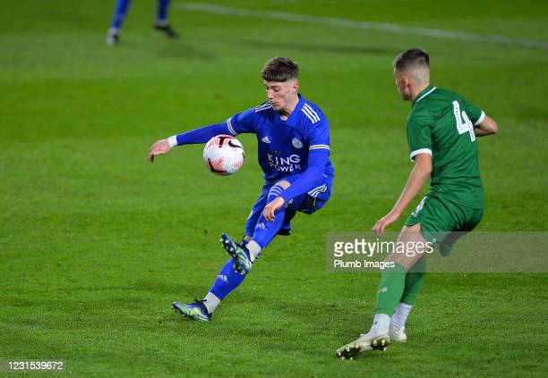 Ethan Fitzhugh of Leicester City with Jay Glover of Sheffield Wednesday during Leicester City v Sheffield Wednesday: FA Youth Cup at Leicester City...