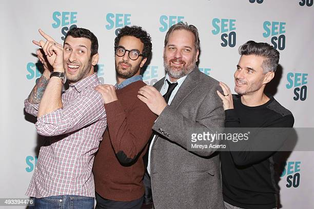 Ethan Fixell Dave Ahdoot Dan Harmon and Evan Shapiro attend 'HarmonQuest Live' during the 11th Annual New York Television Festival at SVA Theater on...