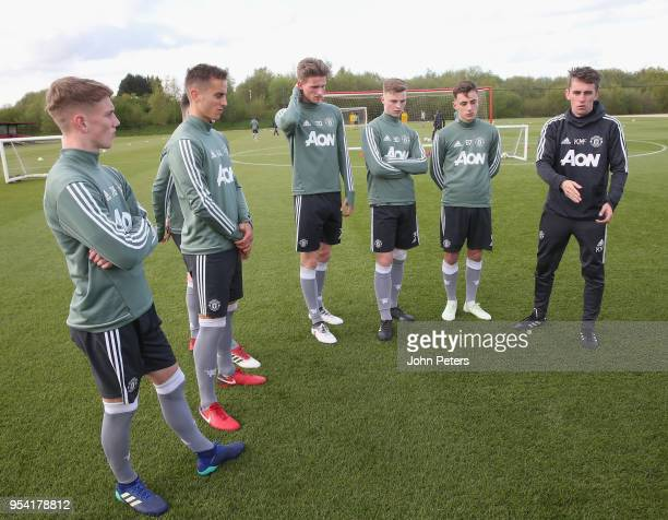 Ethan Galbraith Millen Baars Max Dunne George Tanner Lee O'Connor and Manager Kieran McKenna of Manchester United U18s in action during an U18s...