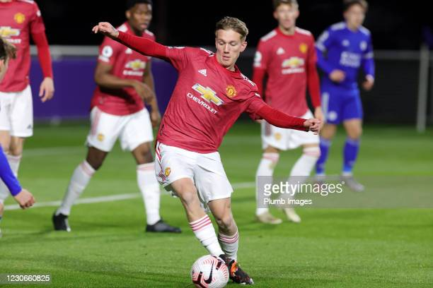 Ethan Galbraith of Manchester United during the Premier League 2 match between Leicester City and Manchester United at Leicester City Training...