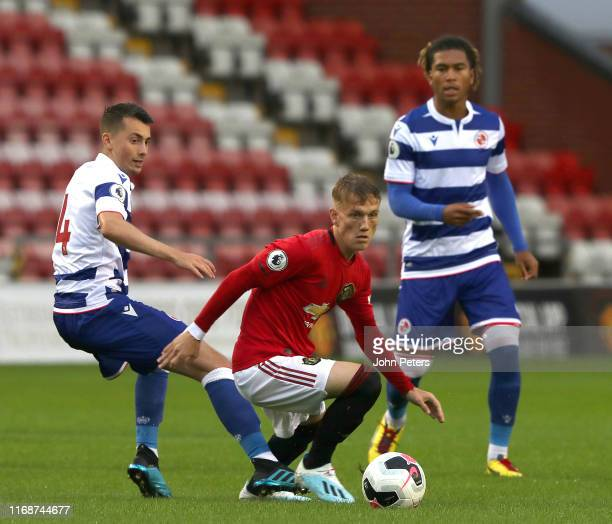 Ethan Galbraith of Manchester United in action during the Premier League 2 match between Manchester United U23s and Reading U23s at Leigh Sports...