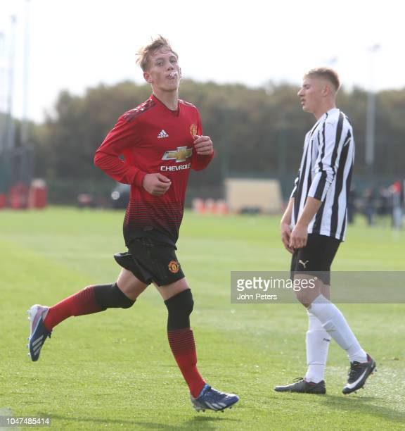 Ethan Galbraith of Manchester United U18s celebrates scoring their first goal during the U18 Premier League North match between Manchester United...