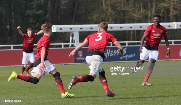 Ethan Galbraith of Manchester United U18s celebrates scoring their first goal during the U18 Premier League match between Wolverhampton Wanderers...