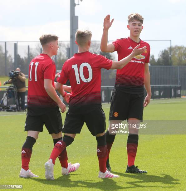 Ethan Galbraith of Manchester United U18s celebrates scoring their first goal during the U18 Premier League match between Manchester City U18s and...