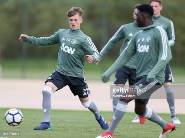 Ethan Galbraith of Manchester United U18s in action during an U18s training session at Aon Training Complex on May 2 2018 in Manchester England