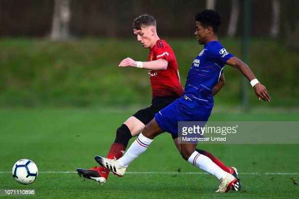 Ethan Galbraith of Manchester United U18s in action during the Under18 Premier League Cup match between Manchester United U18s and Chelsea U18s at...