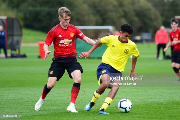 Ethan Galbraith of Manchester United U18s in action during the U18 Premier League North match between Manchester United U18s and Blackburn Rovers...