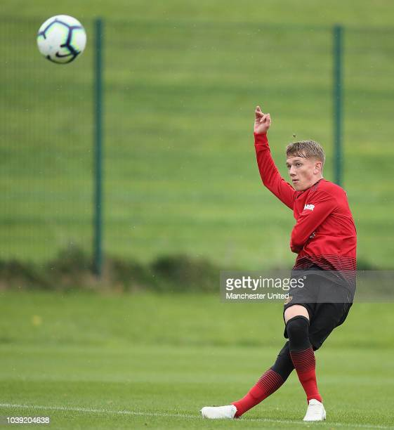 Ethan Galbraith of Manchester United U18s in action during the U18 Premier League match between Manchester United U8s and West Bromwich Albion U18s...