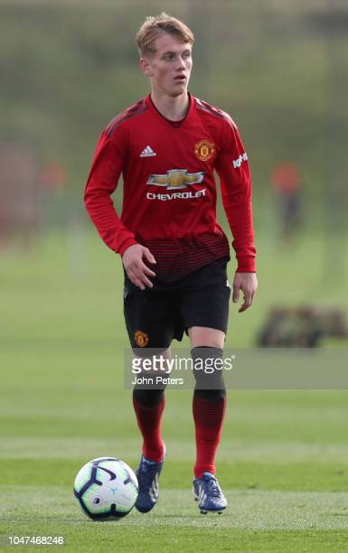 Ethan Galbraith of Manchester United U18s in action during the U18 Premier League North match between Manchester United U18s and Newcastle United...