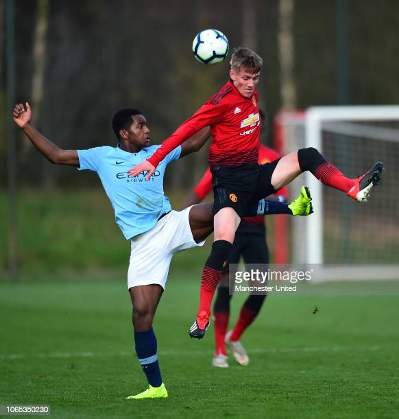 Ethan Galbraith of Manchester United U18s in action during the U18 Premier League North match between Manchester United U18s and Manchester City U18s...